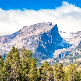 Beautiful view of the Rocky Mountains over a forest in Colorado.